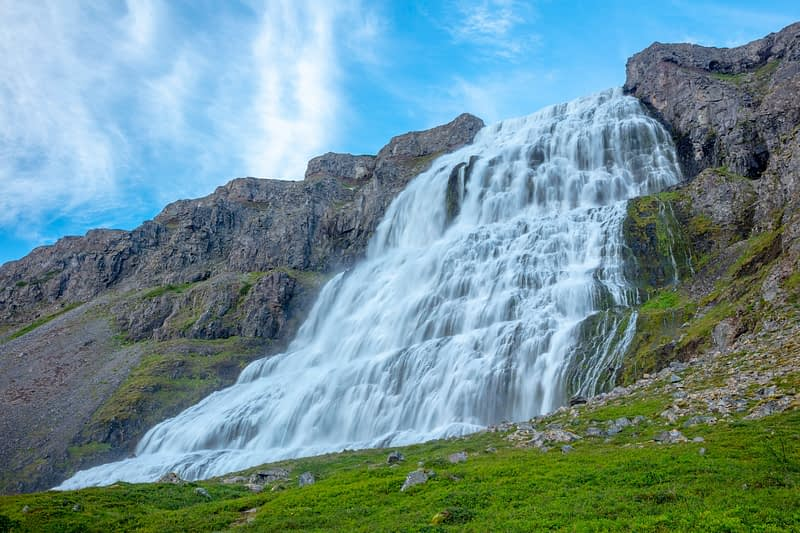 Dynjandi waterfall, or Fjallfoss, reaches 100m high. Westfjords, Iceland.