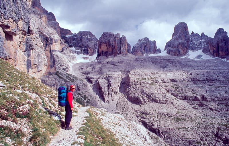 On the via ferrata Sentiero SOSAT, Brenta Dolomites, Italian Alps, Italy.