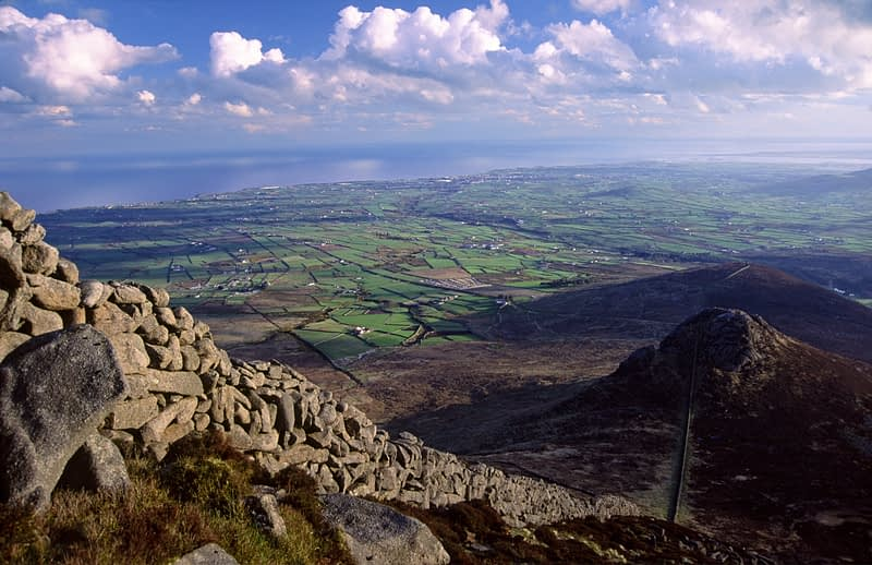 Mourne Wall on the side of Slieve Binnian, Mourne Mountains, Co Down, Northern Ireland.