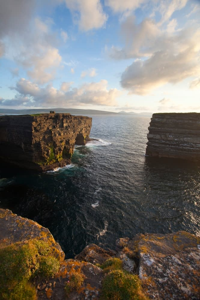 Evening over Downpatrick Head and Dun Briste seastack, Co Mayo, Ireland.