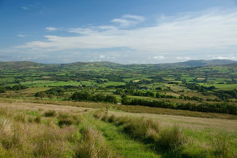 View across the Owenkillew Valley to the Sperrin Mountains, Co Tyrone, Northern Ireland.