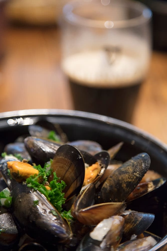 Mussels and Guinness - great Irish pub food. Connemara, County Galway, Ireland.