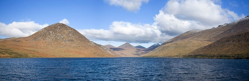 View North from the Silent Valley Reservoir, Mourne Mountains, Co Down, Northern Ireland.