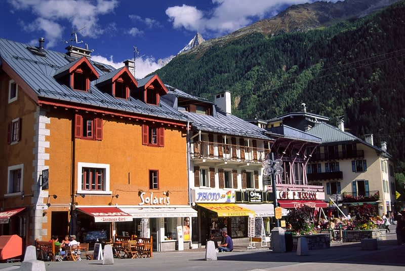 Cafes and restaurants in the centre of Chamonix, French Alps, France.
