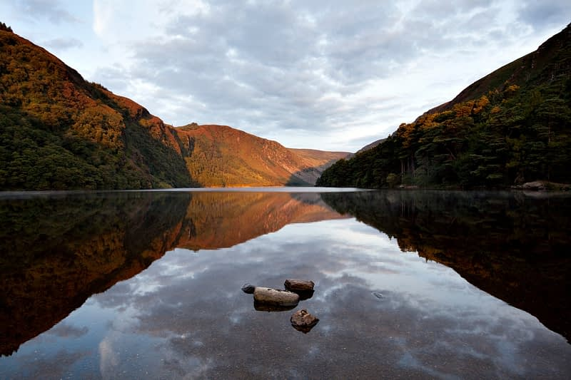 Dawn reflections in Upper Lake, Glendalough, Co Wicklow, Ireland.