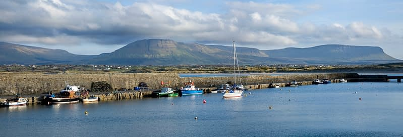Mullaghmore Harbour and the Sligo Hills, Co Sligo, Ireland.