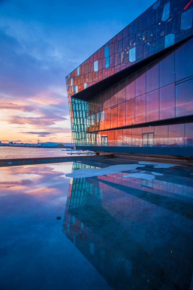 Sunset reflection of Harpa Concert Hall, Reykjavik, Iceland.