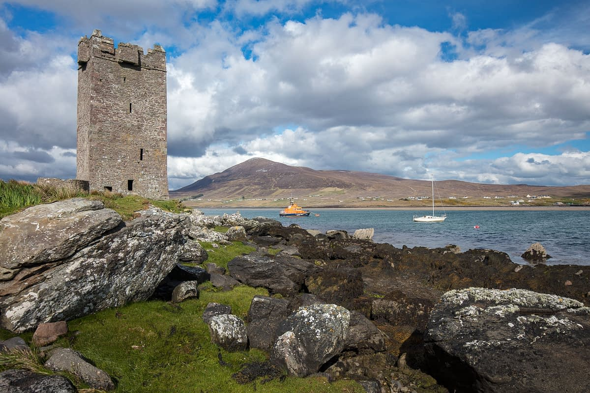 Kildavnet Castle on the shore of Achill Sound, Achill Island, County Mayo, Ireland.
