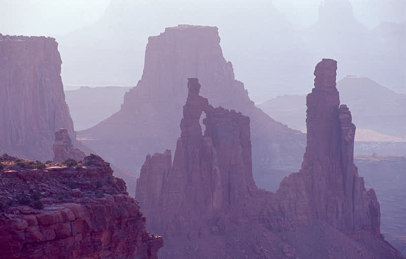 Sandstone towers in Canyonlands National Park, Utah, USA.