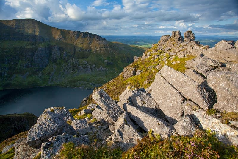 Rock pinnacles above Coumshingaun, Comeragh Mountains, County Waterford, Ireland.