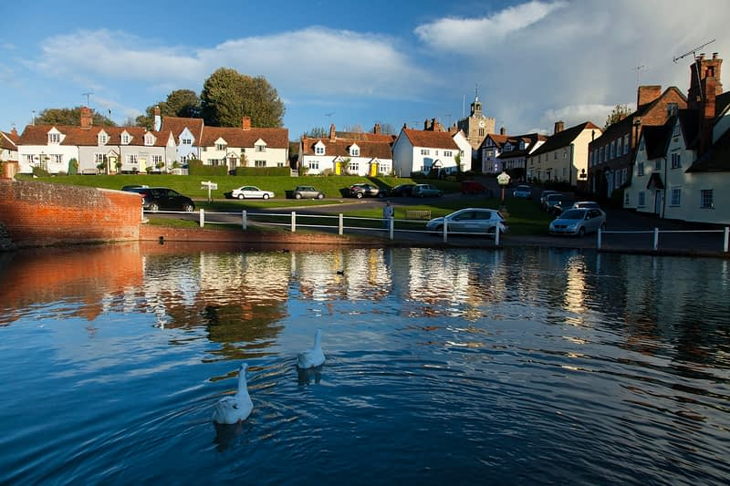 Duck pond and medieval cottages in the village of Finchingfield, Essex, England.