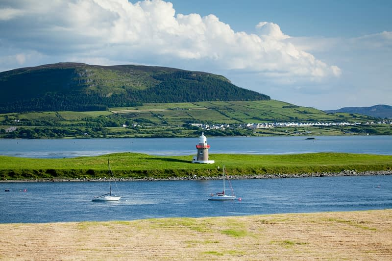 Oyster Island lighthouse beneath Knocknarea, Co Sligo, Ireland.