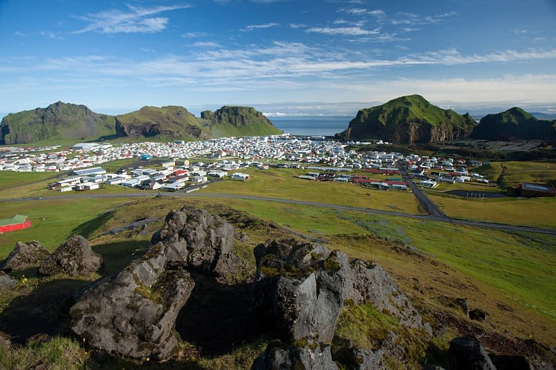 View across Heimaey town from Helgafell, Westman Islands, Sudhurland, Iceland.