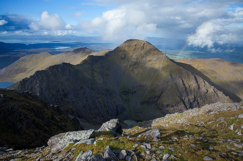 Beenkeragh, Ireland's second highest mountain, seen from Carrauntoohil, MacGillycuddy's Reeks, County Kerry, Ireland.