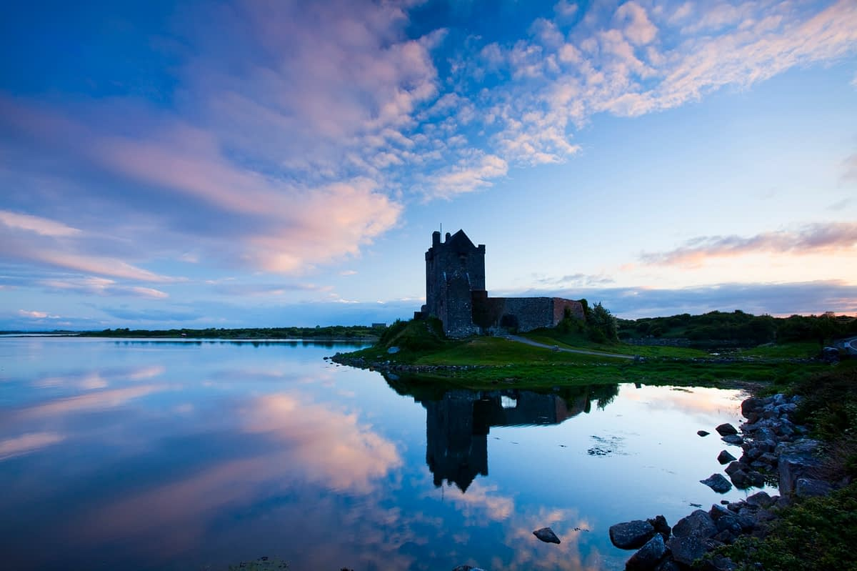 Reflection of Dunguaire Castle, Kinvara, Galway Bay, Co Galway, Ireland.