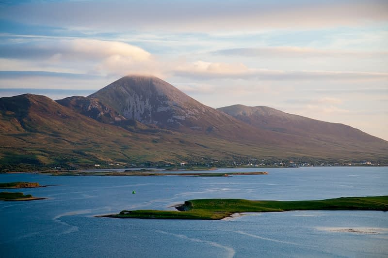 Croagh Patrick rising above Clew Bay, County Mayo, Ireland.
