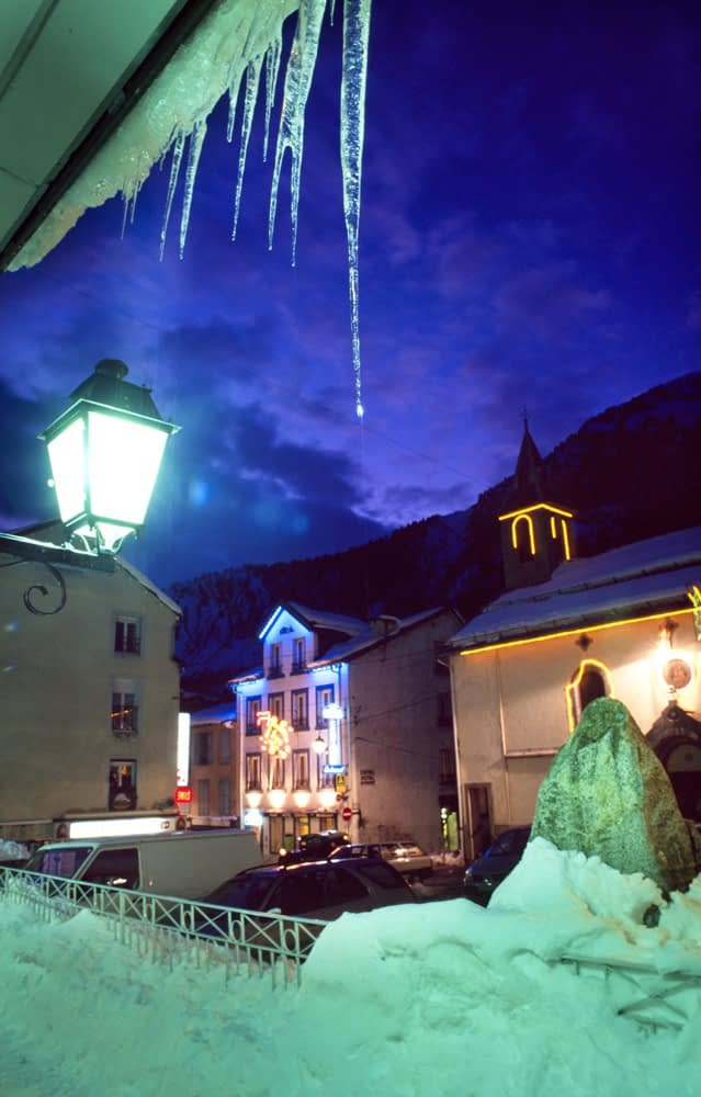 Winter dusk in the village of Bareges, French Pyrenees, France.