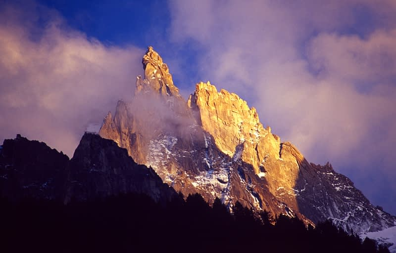 Evening light on the Chamonix Aiguilles, French Alps, France.
