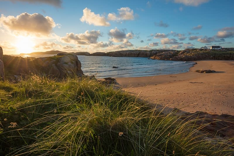 Evening beach in Traderg Bay, Cruit Island, The Rosses, County Donegal, Ireland.