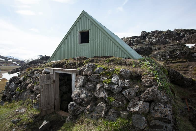 The old mountain shelter at Landmannalugar, Sudhurland, Iceland.