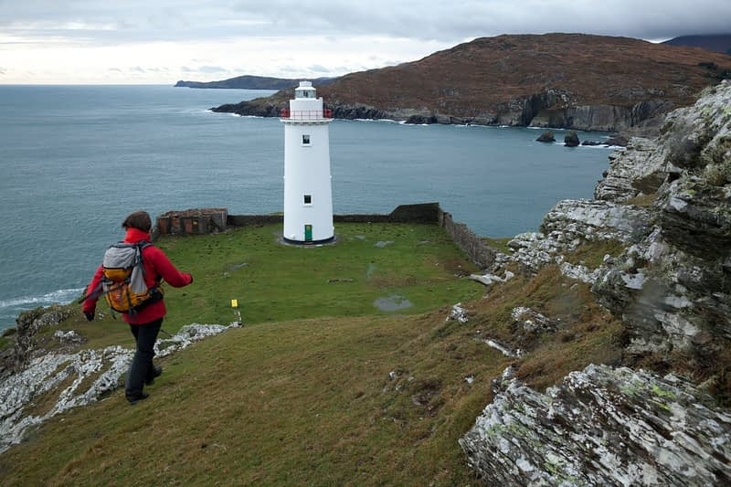 Walking near Ardnakinna lighthouse, Bere Island, Couty Cork, Ireland.