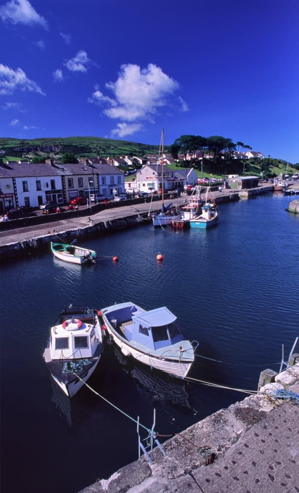 Carnlough village and harbour, Co Antrim, Northern Ireland.
