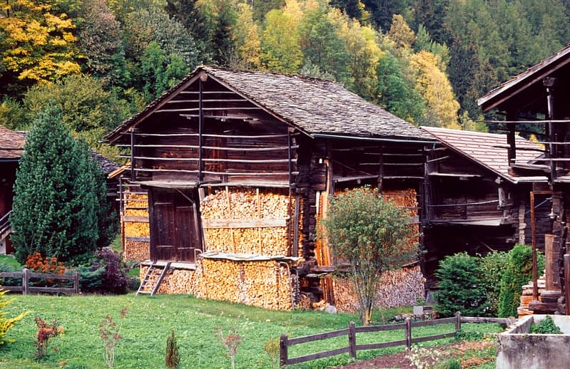 Traditional wooden chalets, Les Arlaches, Val Ferret, Switzerland.