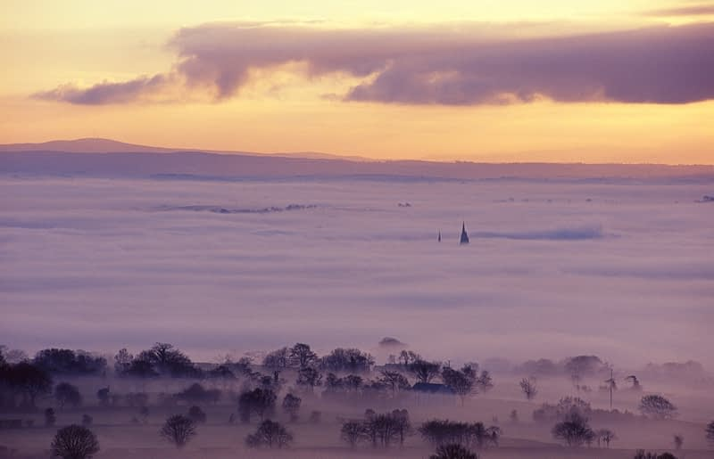 Dawn fog over Omagh town, Co Tyrone, Northern Ireland.