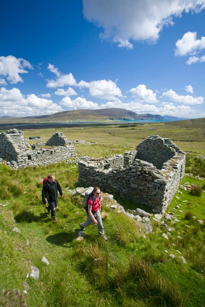 Walking through the Deserted Village, Achill Island, Co Mayo, Ireland.