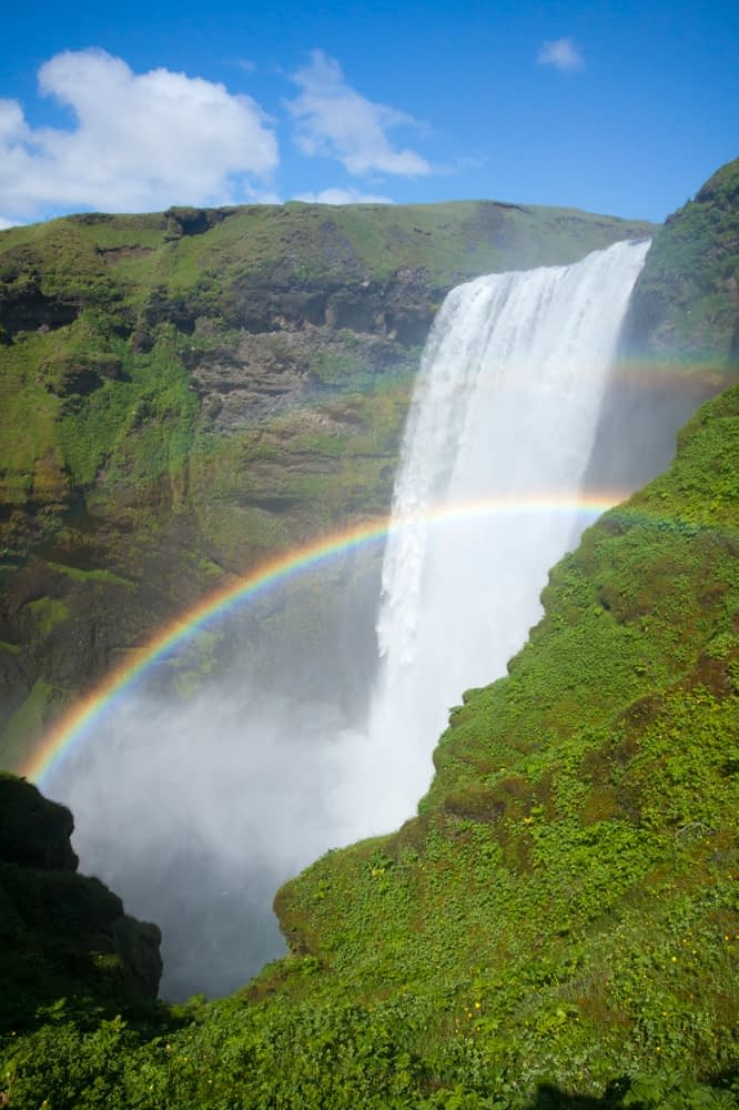 Double rainbow in 60m-high Skogafoss waterfall, Skogar, Sudhurland, Iceland.