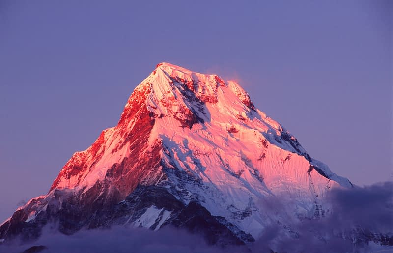 Evening light on Annapurna South, Nepal Himalaya.