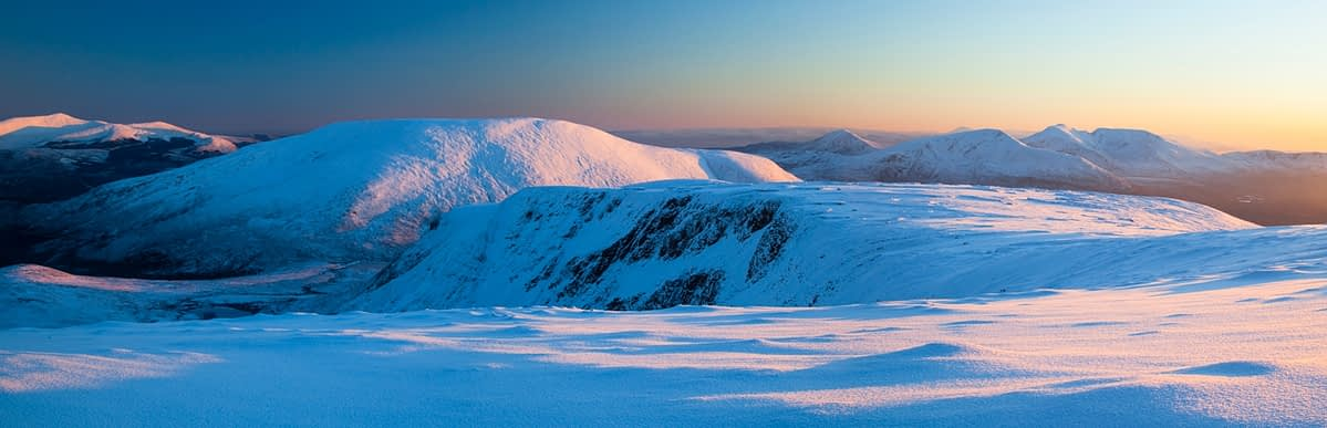 Winter panorama from Slieve Carr, Nephin Beg Mountains, Co Mayo, Ireland.