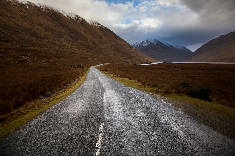 Deserted winter road, Doolough, County Mayo, Ireland.