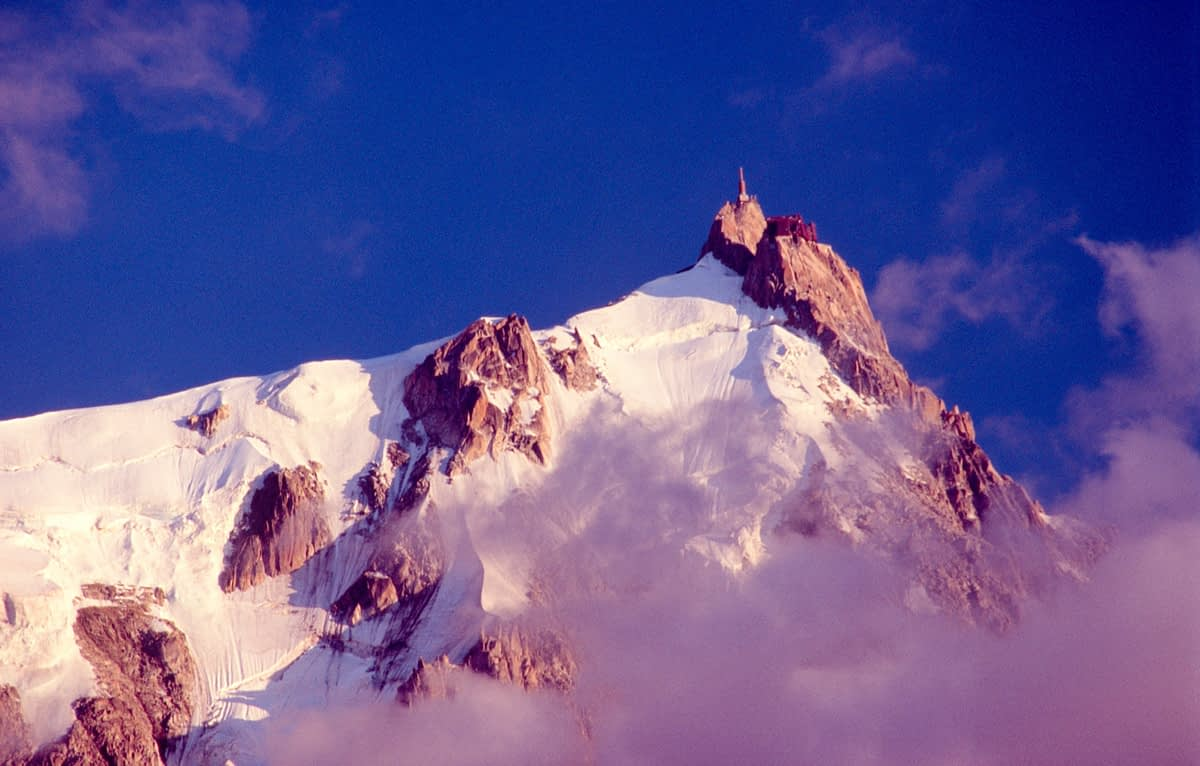 Evening light on the Aiguille du Midi, French Alps, France.