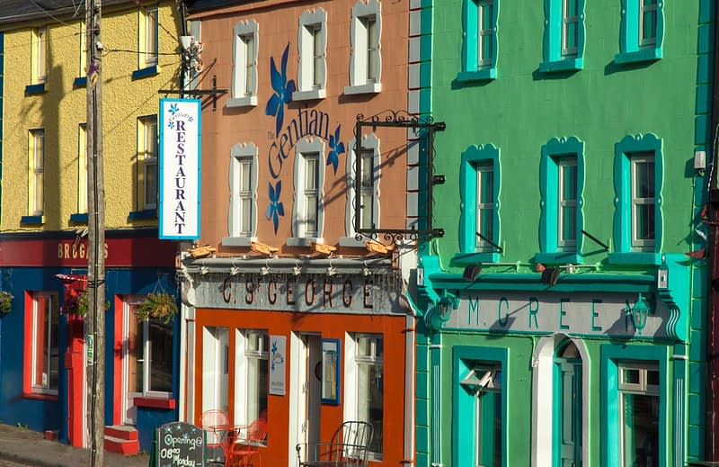 Colourful buildings in the village of Kinvarra, County Galway, Ireland.