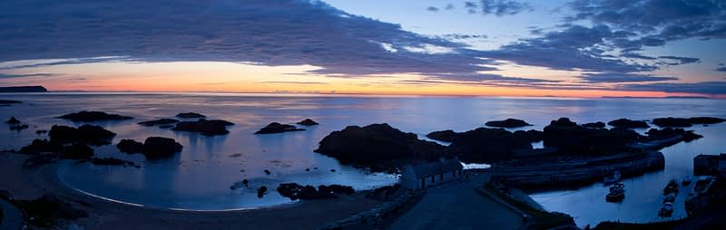Midsummer midnight dusk, Ballintoy, County Antrim, Northern Ireland.