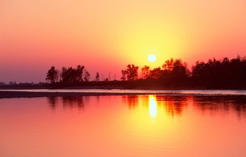 Sunset over Royal Bardia National Park, Nepal.
