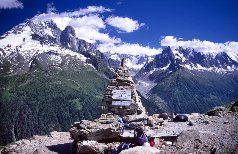 Cairn at the Tete aux Vents, Grand Balcon Sud, Chamonix Valley, French Alps, France.
