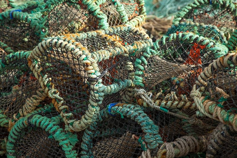 Lobster pots, Porturlin, County Mayo, Ireland.