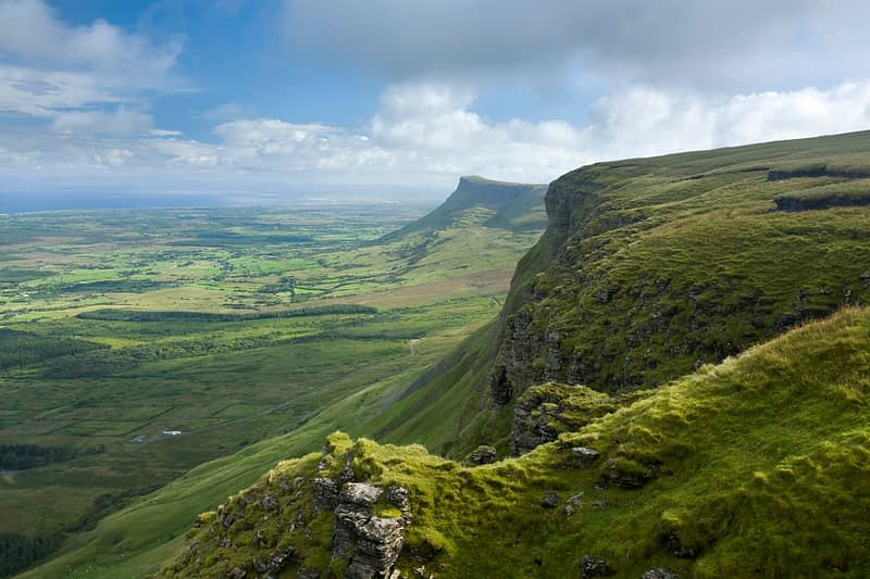 Looking north along the Benbulbin escarpment to Benwiskin, Co Sligo, Ireland.