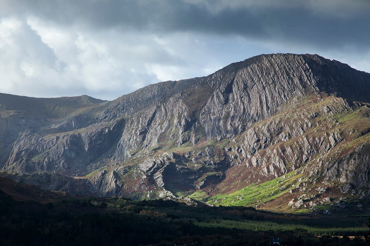 Exposed sandstone rock on Coomacloghane mountain, Glanmore Valley, Beara Peninsula, County Kerry, Ireland.
