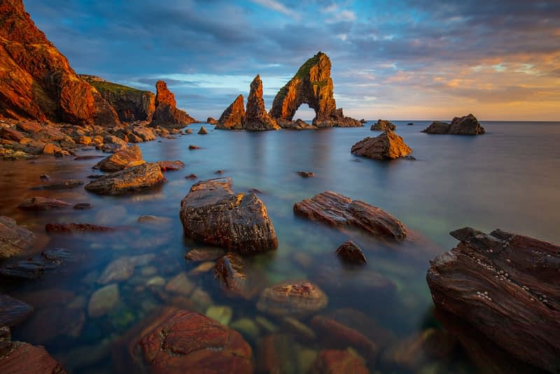 Evening at Crohy Head sea arch, County Donegal, Ireland.