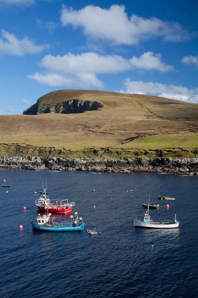 Fishing boats in Porturlin Harbour, Co Mayo, Ireland.