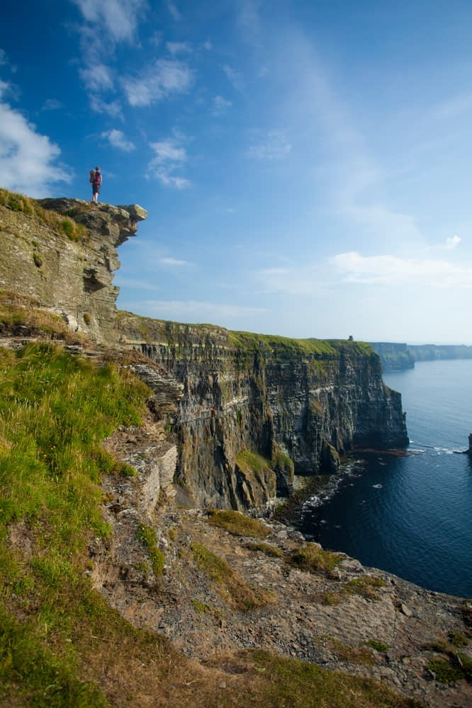 Walker on the Cliffs of Moher Coastal Path, County Clare, Ireland.