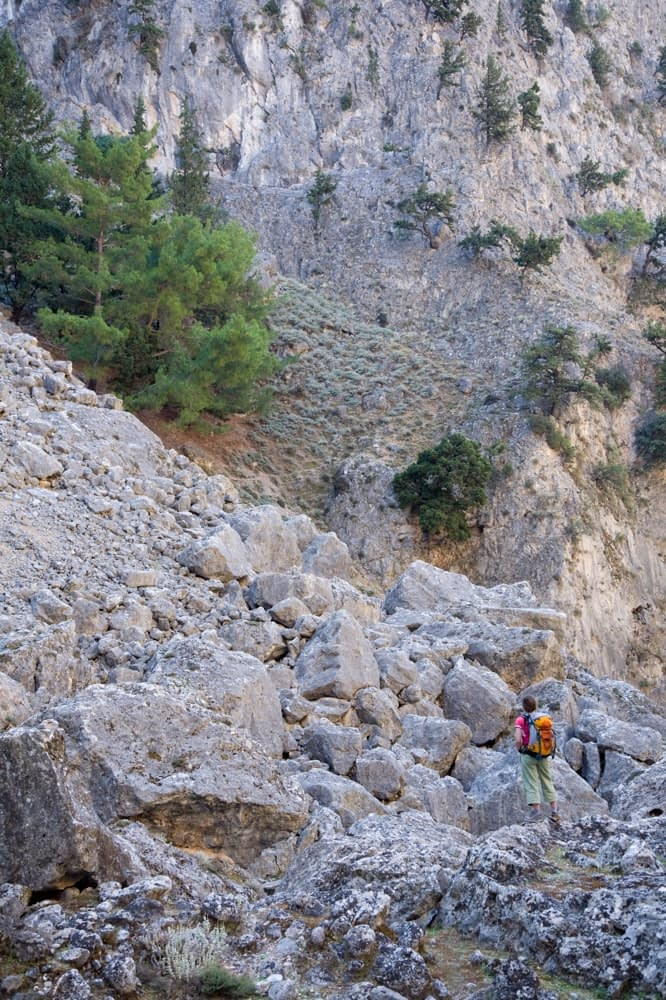Hiker in the Aradena Gorge, White Mountains, Crete, Greece.