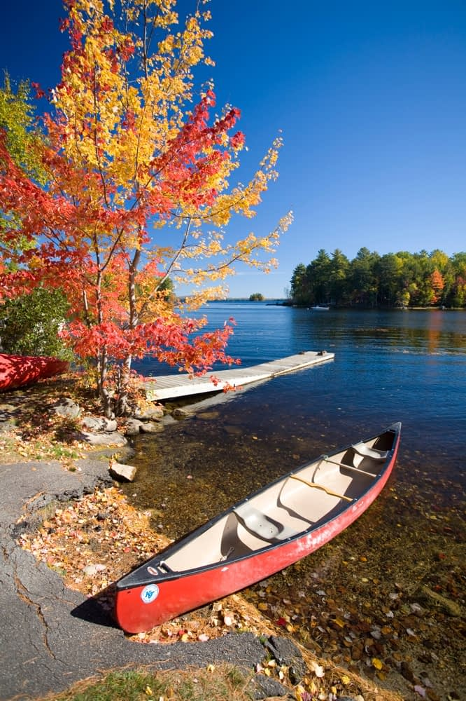 Fall canoe, Maine, New England, USA.