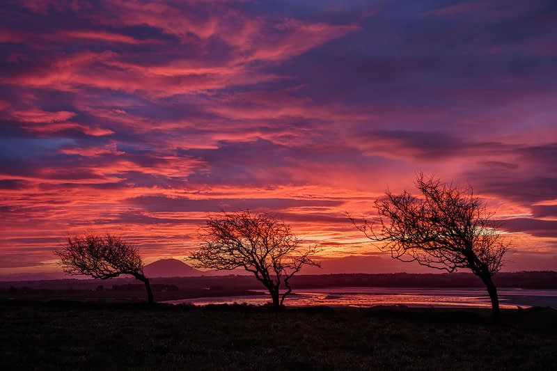 Sunset over the River Moy estuary, County Sligo, Ireland.