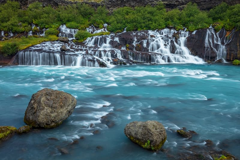Hraunfossar lava falls are 900m long. Husafell, Sudhurland, Iceland.