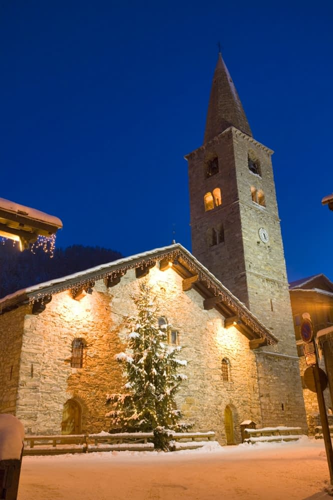 17th century church in winter, Val d'Isere, French Alps, France.
