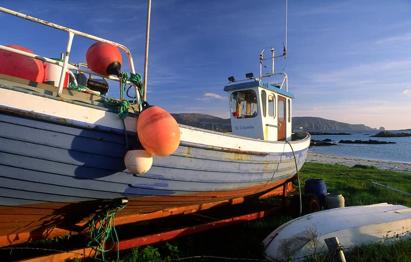 Fishing boat pulled up at Rossbeg, Co Donegal, Ireland.